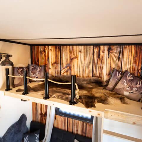 Schlafbereich Holzhaus Canada
